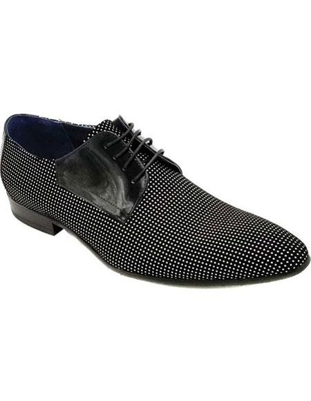 Mens Lace Up Cap Toe Four Eyelet Lacing Black Shoe