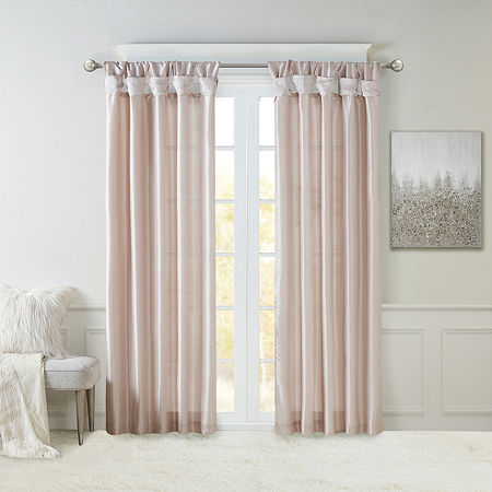 Madison Park Natalie Twisted Tab Light-Filtering Tab-Top Single Curtain Panel, One Size , Pink