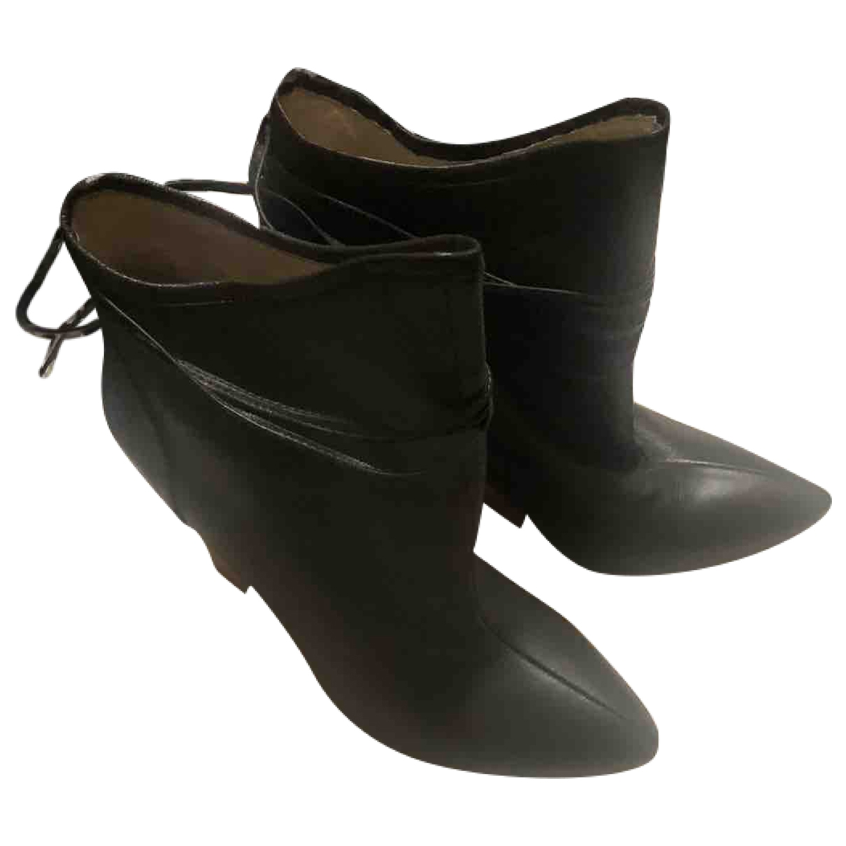 Plomo \N Green Leather Ankle boots for Women 37 EU