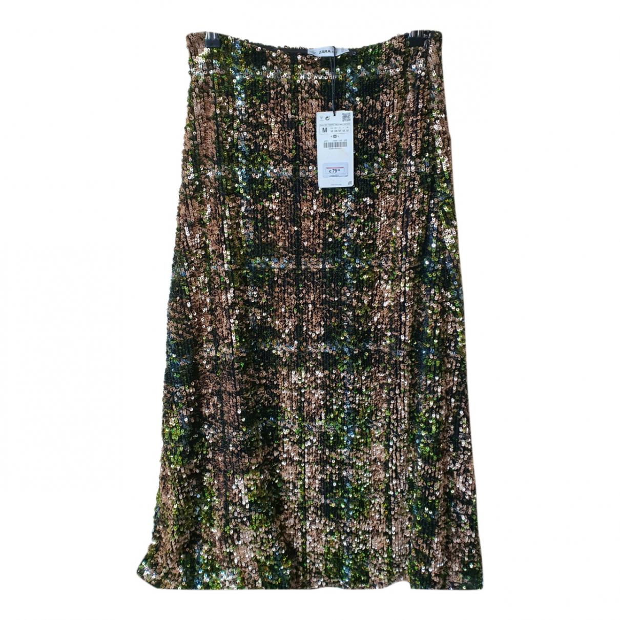 Zara - Jupe   pour femme en a paillettes - vert