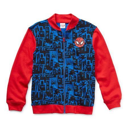 Marvel Little & Big Boys Spiderman Lightweight Bomber Jacket, 3 , Blue