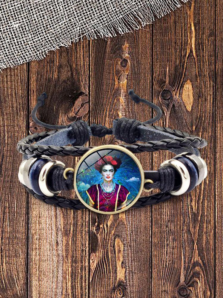 Adjustable Men Women Leather Bracelet Multi-Layer Hand-Woven Women Wearing Flowers Bracelet