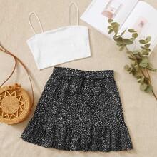 Crop Cami Top & Tie Waist Dalmatian Skirt Set