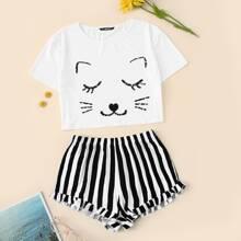 Cat Graphic Crop Tee & Striped Shorts PJ Set