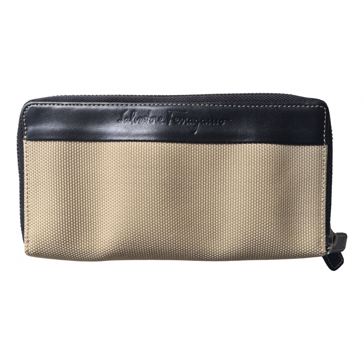 Salvatore Ferragamo \N Beige Cloth Small bag, wallet & cases for Men \N