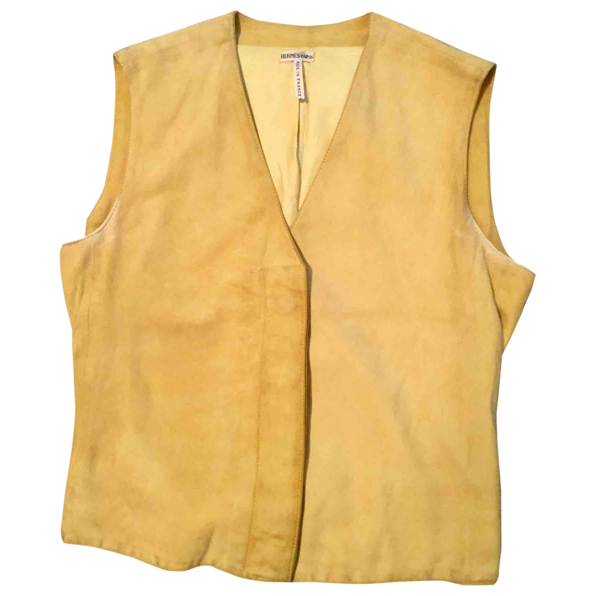 Hermes - Top   pour femme en cuir - jaune