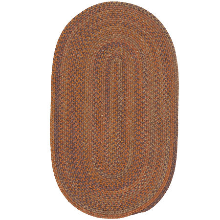 Colonial Mills Greenbrier Reversible Braided Wool Oval Rug, One Size , Orange