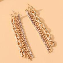 Rhinestone Inlaid Metal Chain Drop Earrings