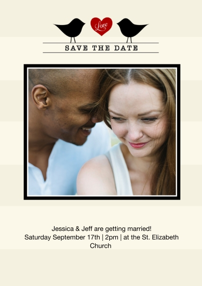 Save the Date 5x7 Cards, Premium Cardstock 120lb with Scalloped Corners, Card & Stationery -Betrothed Birds
