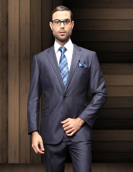 Pick Stitch Collar Slanted Pocket 2 Btn Navy Shadow Stripe Suit