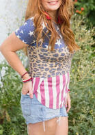 American Flag Leopard T-Shirt Tee