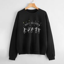 Sweatshirt mit Halloween & Buchstaben Grafik