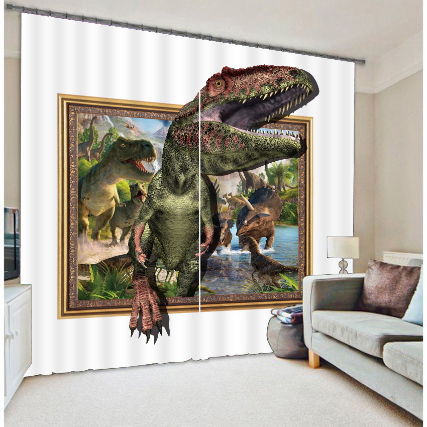 3D Amazing Dinosaurs Printed Animals Scenery 2 Panels Bedroom Custom Shading Curtain
