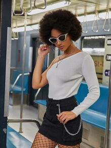 One Shoulder Solid Sweater
