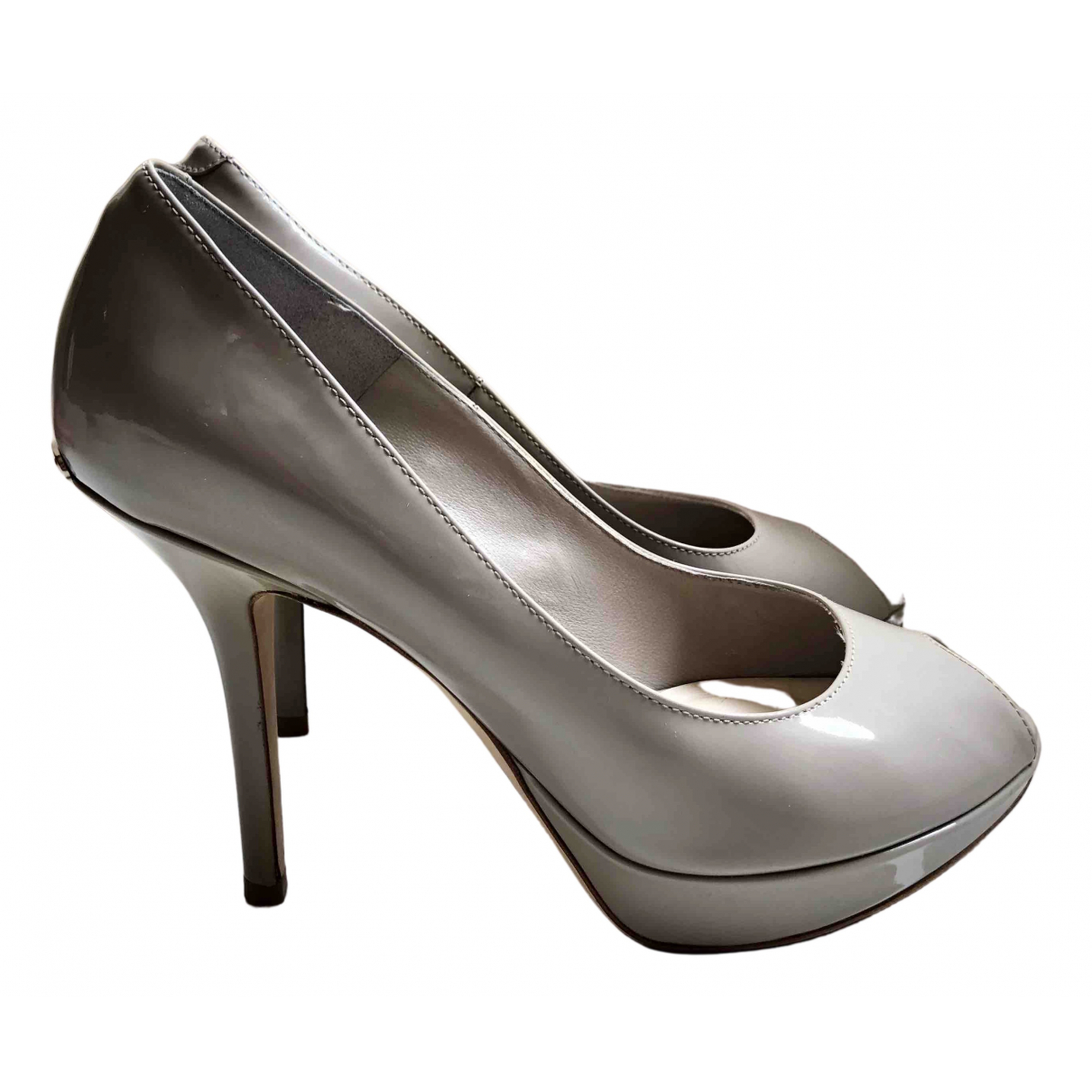 Dior - Escarpins Miss Dior Peep Toes pour femme en cuir verni - gris