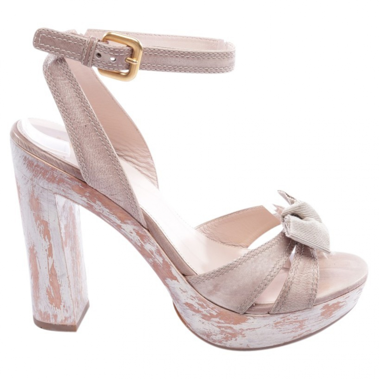 Prada N Beige Leather Sandals for Women 38 EU