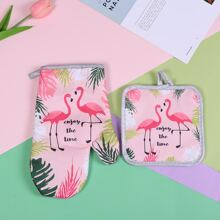 1pc Flamingo Print Heat Proof Glove & Heating Pad