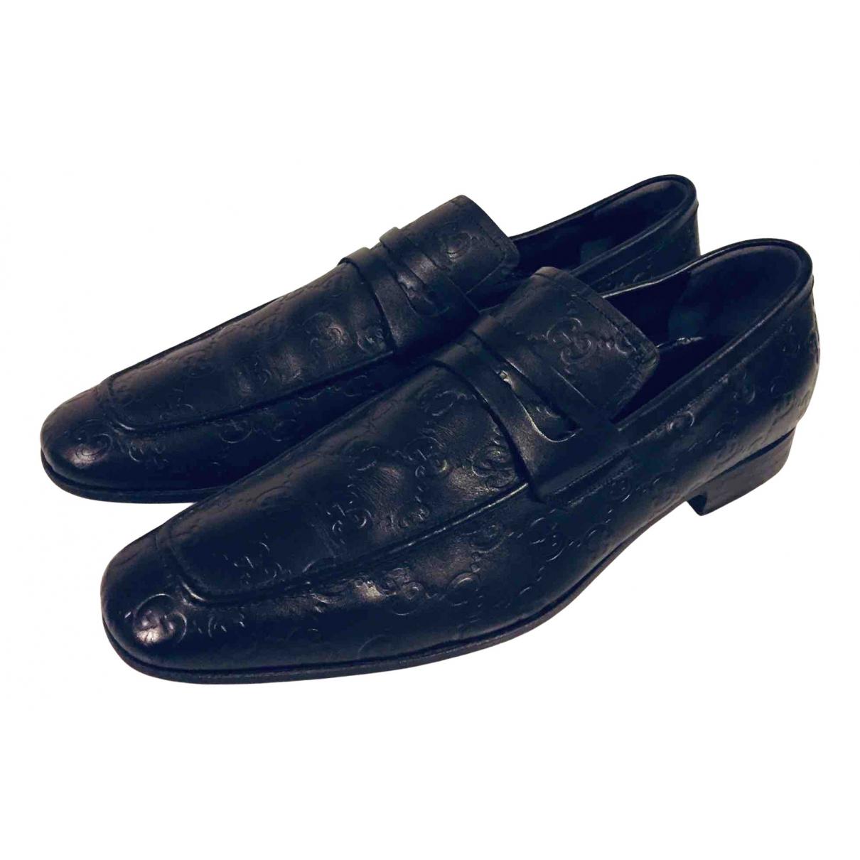 Gucci N Black Leather Flats for Men 41 EU