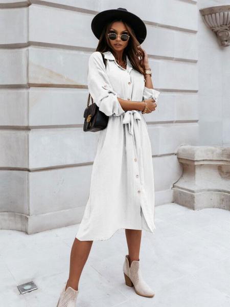 Milanoo Vestidos camiseros para mujer Vestido midi blanco Cuello vuelto Manga larga Vestido de poliester