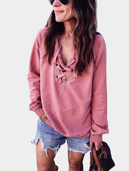 Yoins Pink V-neck Lace-up Design Long Sleeves Shirt
