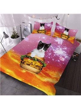 A Cat Sits On A Hamburger Against An Orange And Pink Background Printed 3-Piece Comforter Sets