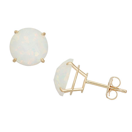 Lab Created White Opal 10K Gold 8mm Stud Earrings, One Size , No Color Family