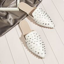 Spiked Decor Flat Mules