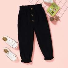 Karotte Hose mit Knopfen Detail und Papiertaschen auf Taille
