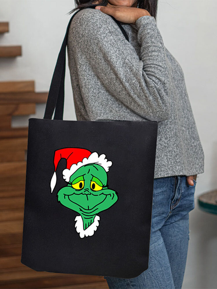Women Canvas Christmas Green Hair Monster Grinch Handbag Shoulder Bag Tote