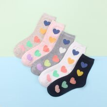 5pairs Heart Pattern Socks