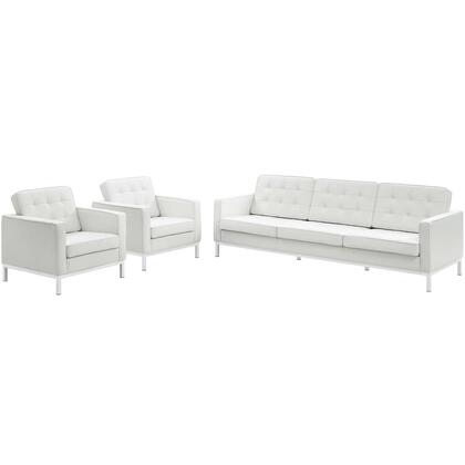 Loft EEI-3102-WHI-SET 3 Piece Leather Sofa and Armchair Set in