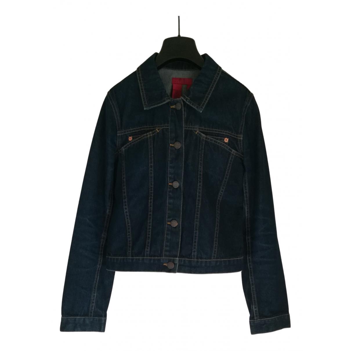 Bcbg Max Azria \N Blue Denim - Jeans Leather jacket for Women 36 FR