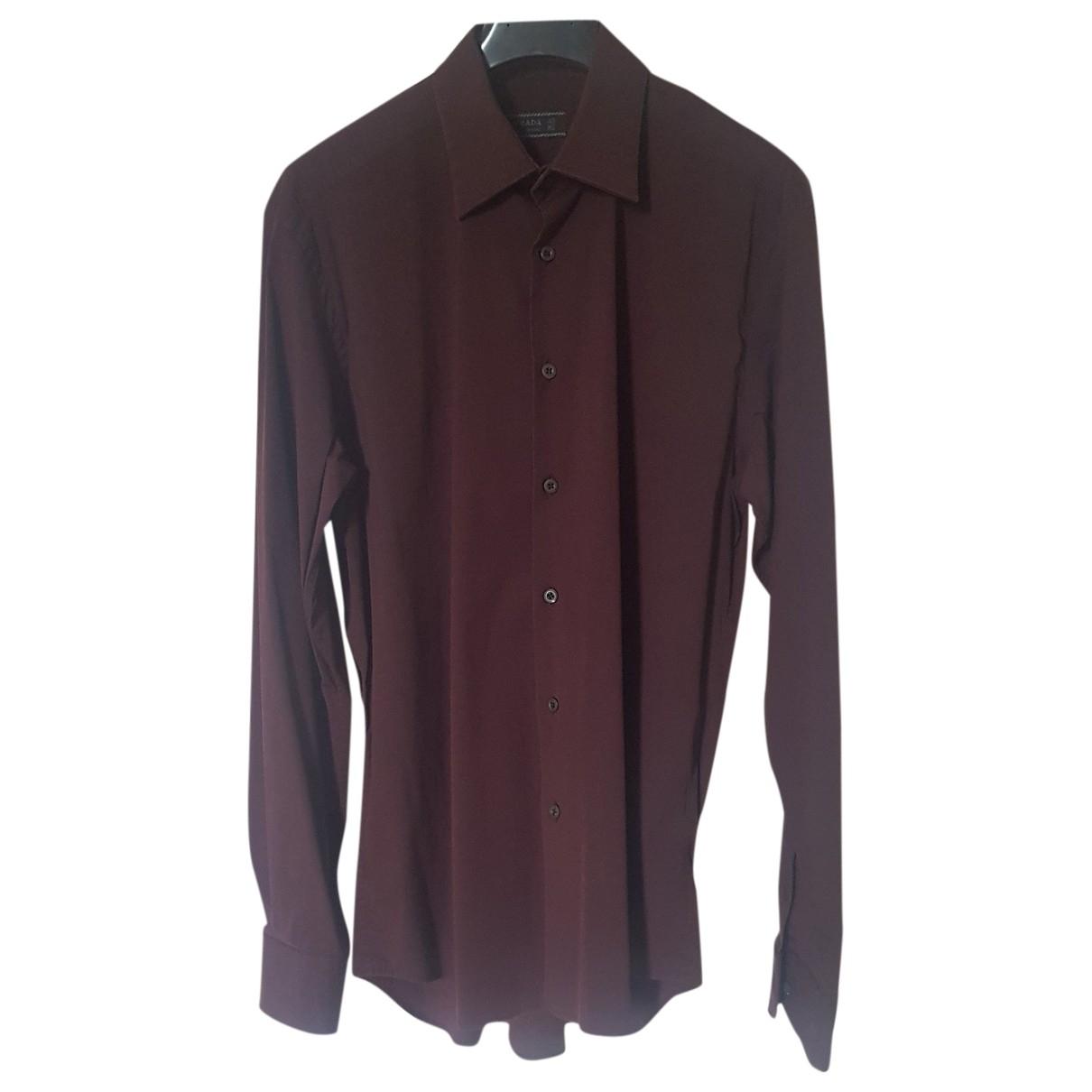 Prada - Chemises   pour homme en coton - bordeaux