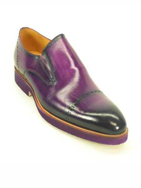 Mens Purple dress Perforated Pattern Slip on Loafer Shoe