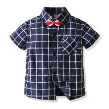 Toddler Boys Plaid Bow Front Button Up Shirt