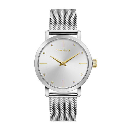 Caravelle Designed By Bulova Womens Silver Tone Stainless Steel Bracelet Watch - 45l184, One Size , No Color Family