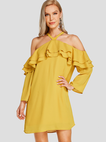 Yoins Yellow Cold Shoulder Long Sleeves Double Layer Mini Dress