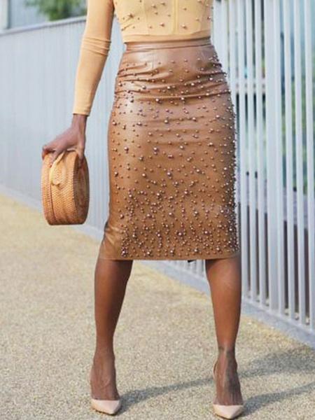 Milanoo Skirt For Women Coffee Brown Studded PU Leather Mid Calf Length High Rise Waist Autumn And Winter Women Bottoms