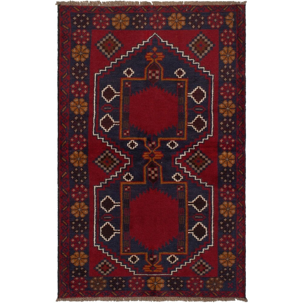 ECARPETGALLERY Hand-knotted Teimani Red Wool Rug - 3'7 x 6'2 (Red - 3'7 x 6'2)
