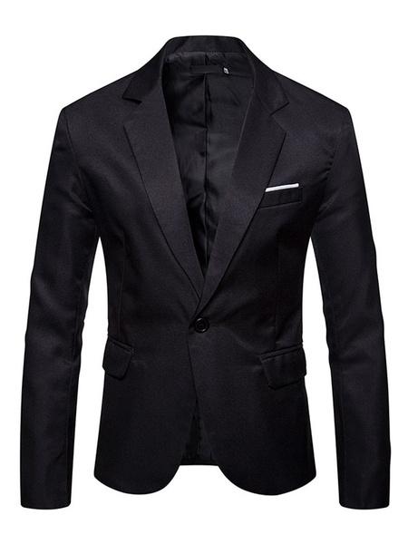 Milanoo Men Casual Blazer Notch Collar One Button Slit Pocket Long Sleeve Blazer Jacket