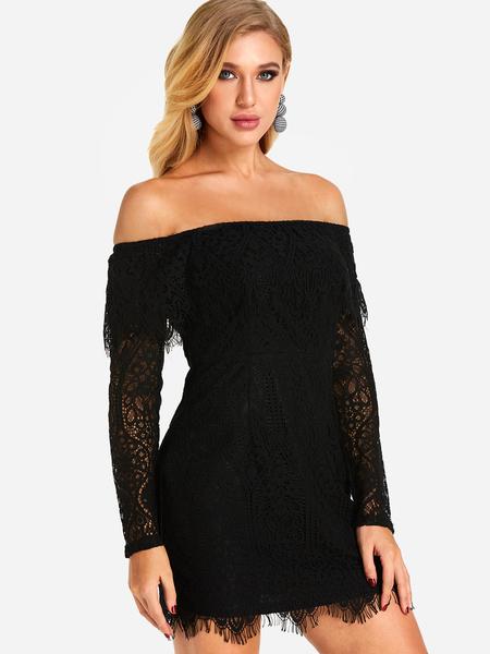 Yoins Black Lace Details Off The Shoulder Fold Over Detail Dresses