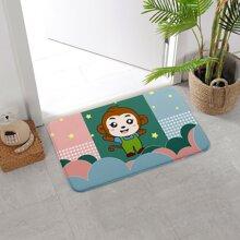 Cartoon Monkey Print Floor Mat