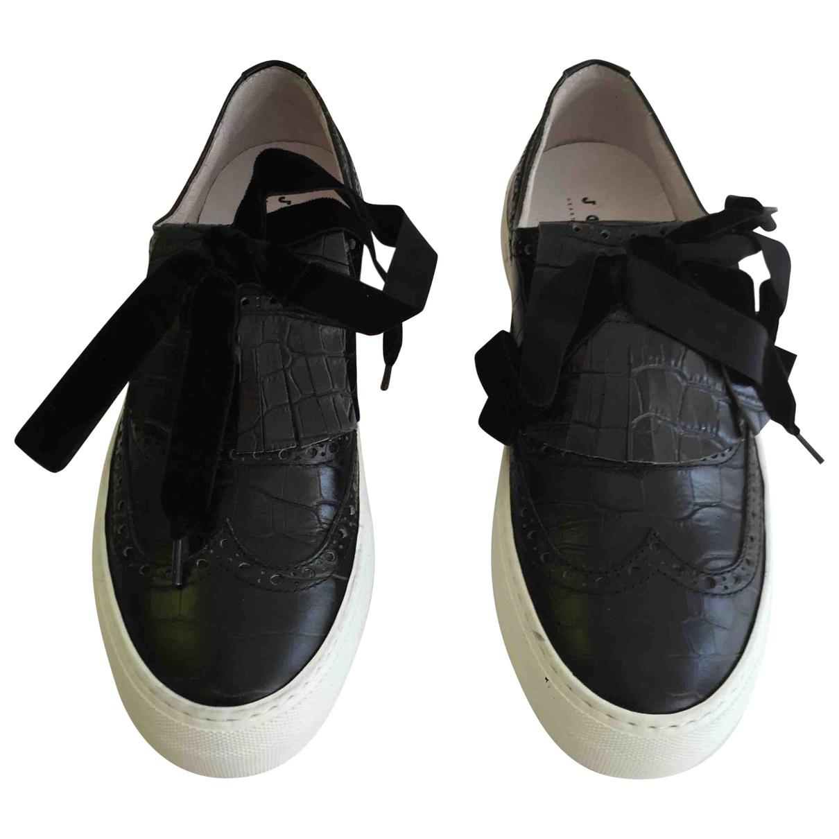 Joshua Sanders - Baskets   pour femme en cuir - noir