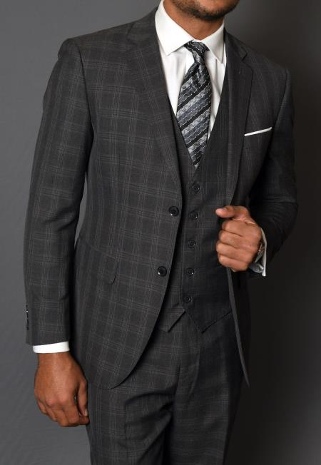 3 Piece 1 Wool Suit - Windowpane Plaid Texture No Pleated Pants Charco