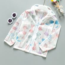 Toddler Girls Rabbit Print Hooded Sunproof Jacket