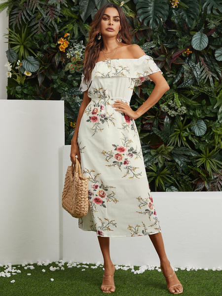 YOINS White Off Shoulder Random Floral Print Maxi Dress