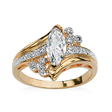 Womens 1 1/10 CT. T.W. White Cubic Zirconia 14K Gold Over Brass Engagement Ring, 8 , No Color Family