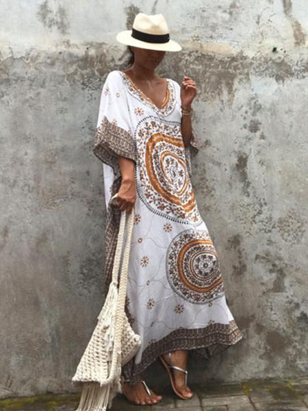 Milanoo Oversized Boho Dress V Neck Printed Split Summer Dress