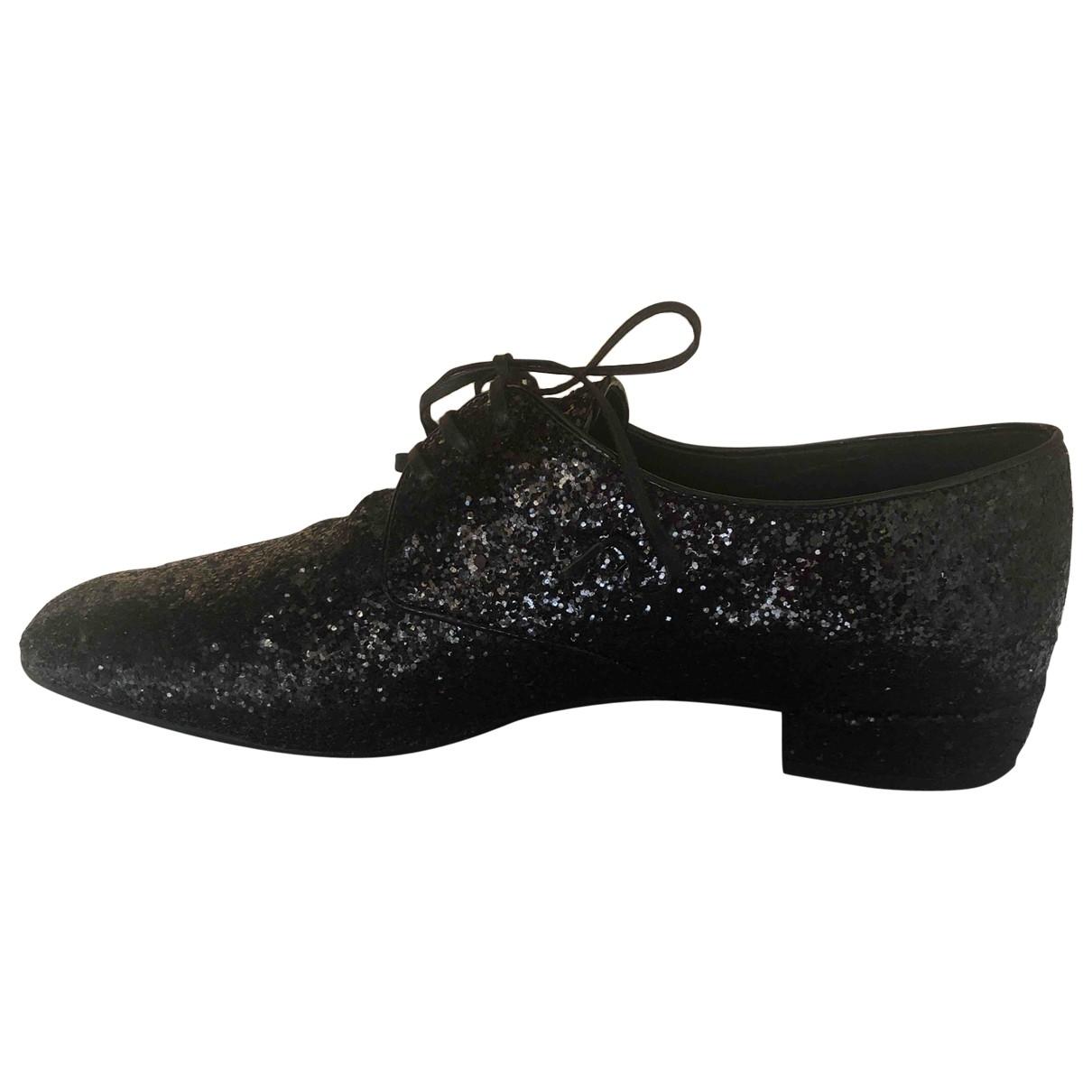 Prada \N Black Glitter Lace ups for Women 37 EU