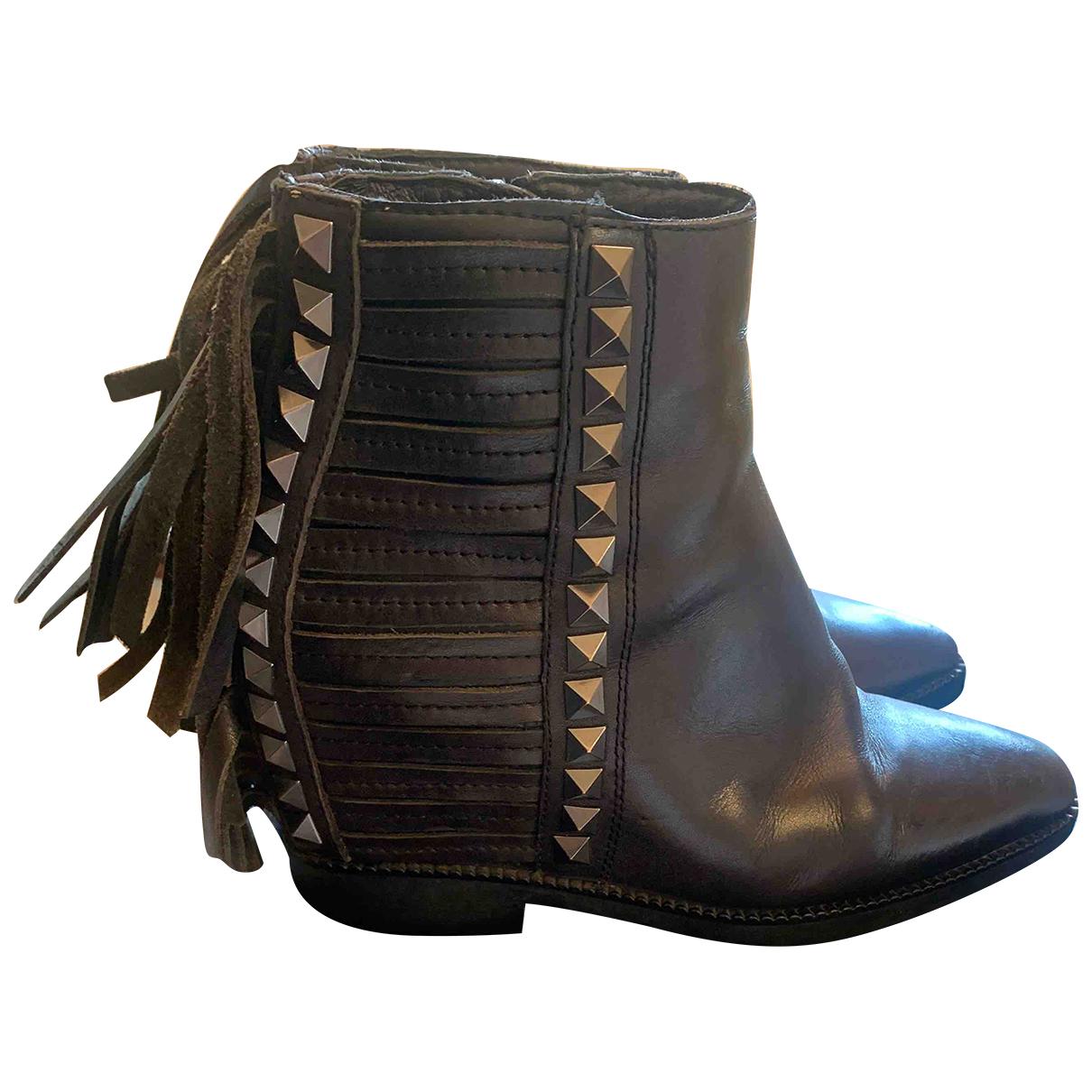 Ash - Bottes   pour femme en fourrure - noir